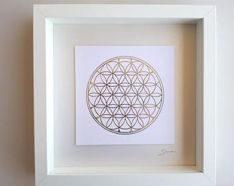 Sacred geometry wall art design,Flower of life art print on foil, paper wall art, silver print paper collage, friend gift, yoga print gift