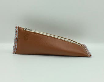 Cherry leather pouch Beige and Caramel