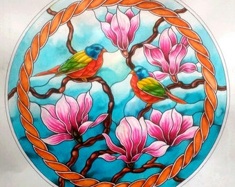 Painted Buntings with Magnolia Blossoms