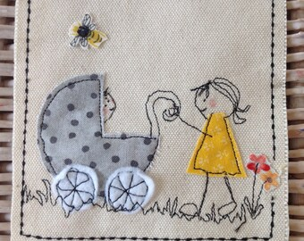 Congratulations new baby big sister card. New baby for big sister card. You are a big sister. Handmade. Can be personalised