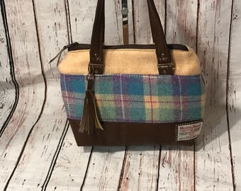 Harris Tweed and leather opal handbag beautiful gift for anyone