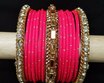 Bangles pink coral colored Size 2.6 Bollywood bangles marriage bangles India bangles ethnic bangles gifts for her