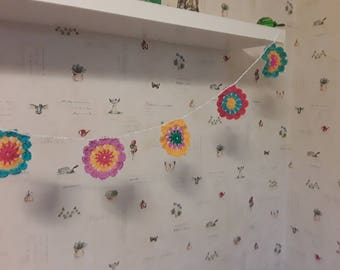 Lovely, cute crochet garland/bunting  with multicoloured wool flowers