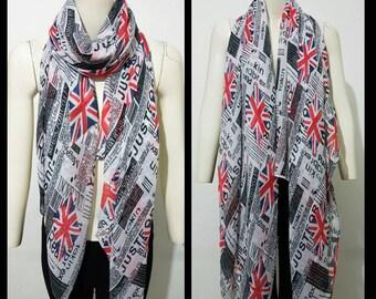 London souvenior print scarf,union union jack SCARF,newspaper print scarf, London flag,London icons souvenior gift  black,white,blue,beige