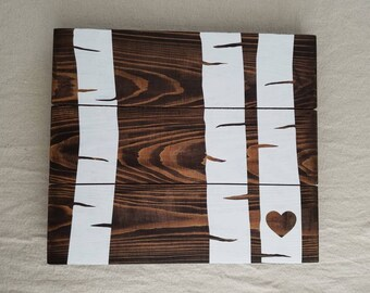 Birch Tree Custom Initials Heart Pallet Wood Sign