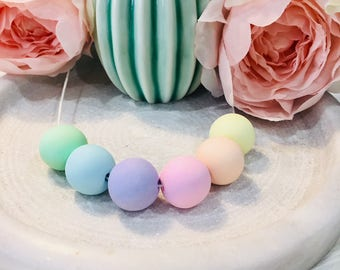 Pastel rainbow coloured polymer clay beaded necklace