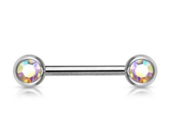 14g Nipple Barbell Surgical Steel Front Facing Aurora Boralis Cz's..12mm (5mm Balls)(Single one)