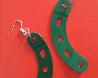 Green meccano earrings