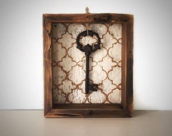 Rustic Shadow Box - Reproduction Vintage Key - Vintage Reclaimed Barn Wood - Shadowbox Display - Hand Painted