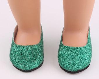 """Green Glitter Slipper Shoes for 18"""" Doll"""