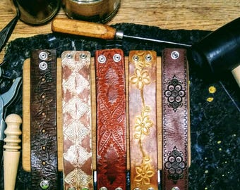 Set of Five Leather Cuffs