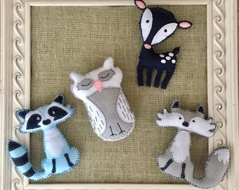 Woodland Animal Stuffies - Light Blue, Grey, White and Navy