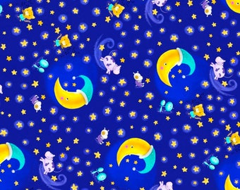 Blank Quilting Rhyme Time - Cow jumped over the moon - blue Yardage by Sanja Rescek - Sold by the Yard