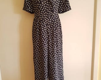 80s 90s / Navy and White / Short Sleeved / Wide Leg / Summer Jumpsuit / Katies Size 10