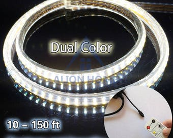 Custom Sized (Custom Lengths) SMD 5730 LED Dual-Color Strip Lights with Wireless Remote Control  - Cool + Warm White