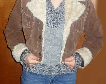 Short Brown Suede Leather Jacket with fur trim