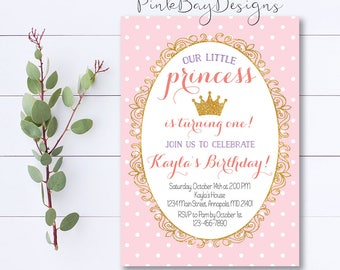 Princess Birthday Invitation, Princess First Birthday Invitation, Pink And Gold Birthday Invitation, Princess Invitation, Royal Birthday