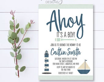 Ahoy It's A Boy Invitation, Ahoy Invitation, Ahoy Baby Shower Invitation, Nautical Baby Shower Invitation, Nautical Boy Shower Invite, Ahoy