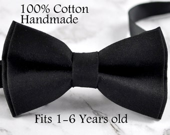Boy Kids Baby infant 100% Cotton Black Solid Bow Tie Bowtie Party Wedding 1-6 Years Old