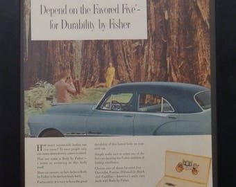 Body by Fisher, Chevrolet, Pontiac, Oldsmobile, Buick, Cadillac, Vintage Auto Ad, Garage Decor, Man Cave Decor, 1951, Classic Cars