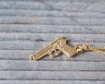 24k Gun Charm Necklace Revolver Necklace Dainty Gun Necklace for Her Golden Revolver Necklace Cowboy Necklace Cowgirl Birthday Jewelry
