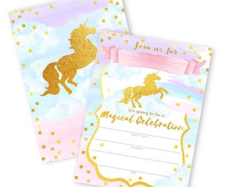 Unicorn Themed Invitations- 12 pack * w/ envelopes*