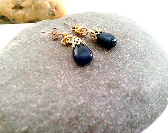 Iolite Earrings / Gold Plated Iolite Earrings / Blue Gemstone Earrings / Iolite Drop Earstuds /Blue Earrings