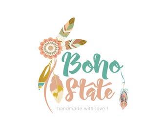 Premade Logo Design, Bohemian Logo, Boho Logo Design, Tribal Logo, Feather Logo