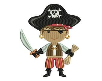 Cute Pirate Embroidery Design, Skull Embroidery Design, Baby Embroidery Design, Girl embroidery design, Boy embroidery design