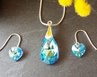Aquamarine Swarovski Crystal Pendant and Earrig Set