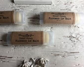 Sweet Honey Flavored Lip Balm - Natural - Handmade - Chapstick - Moisturizing