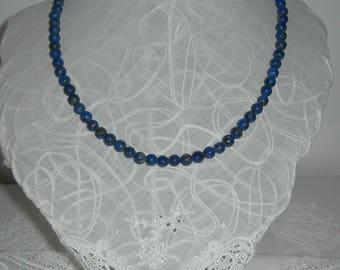 Lapis lazuli necklace,beads, blue, vintage, hand made,gemstone, genuine
