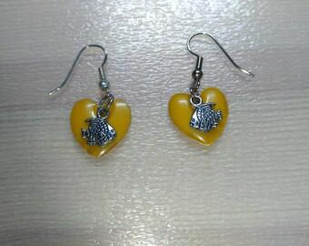 Yellow heart and fish earrings