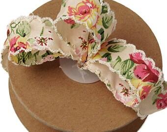 2 yards LUNZA Vintage Floral Ribbon
