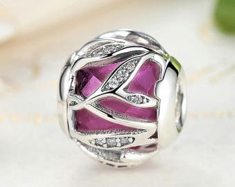 Authentic Sterling Silver charm Beads shimmer Charm Fits European & Pandora Charm Bracelet