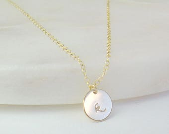 Personalized Circle Necklace / Custom Initial Necklace / Monogram Necklace / Gold Personalized Disk / Gold  Stamped Initial Necklace AD043