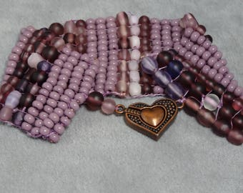 Hand woven bead loom shades of purple bracelet with heart shaped copper magnetic clasp