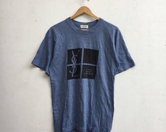 YSL Shirt Big Design Logo Yves Saint Laurent Pour Homme T-Shirt Small Size #446