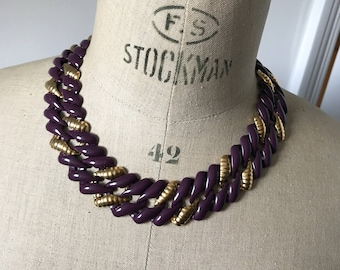 Napier statement necklace, chain link gold tone and purple enamel