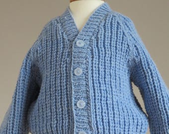 blue hand knitted cardigan