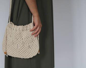 Macrame purse, small, cotton bag, crochet summer bag, white woven bag, macrame bag.