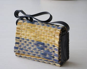 Portuguese Reed Bag with handles, traditional portuguese bag, handmade, handbag, child purse, gift for her.