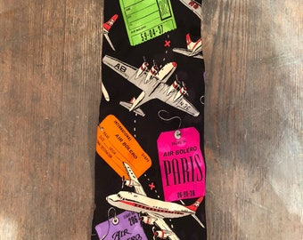 Vintage Airline Tags and Planes Tie