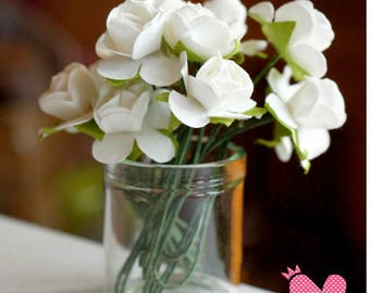 Dolls House Miniature White Rose in Glass Vase