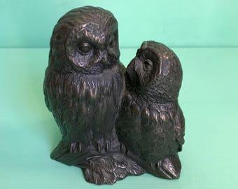 Bronze Effect Pair of Owls- Heredities. M18201