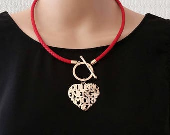 Red Women Necklace with Pendant, Monogram Heart Gold Pendant Leather Necklace for Women, Valentine's Day Gift for Her, Mom Gift