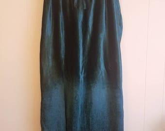 Hand Revamped Vintage velvet maxi skirt turquoise high slit