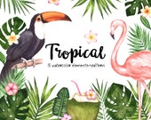 Tropical Watercolor Clipart,Summer Watercolor Clipart,Flamingo Clipart,Tropical Leaves,Tropical Flowers,Monstera, Flamingo,Toucan,Invitation