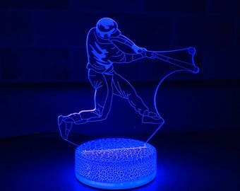 Baseball Player 3D Night Lamp, 3D Night Light Children Light Home Decor Illusion light