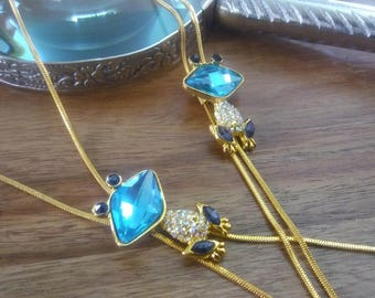 gold color for women, adjustable necklace, frog turquoise rhinestone Lariat Necklace